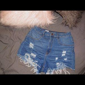 High Waistd Dark Denim Shorts